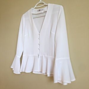 White Buttons Peplum Chic Blouse Bell Sleeves